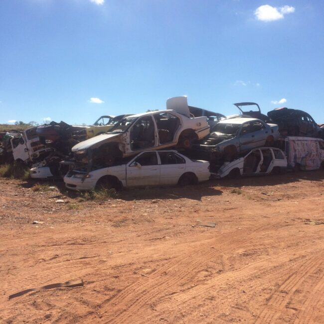 Pile Of Cars Waiting For Crushing