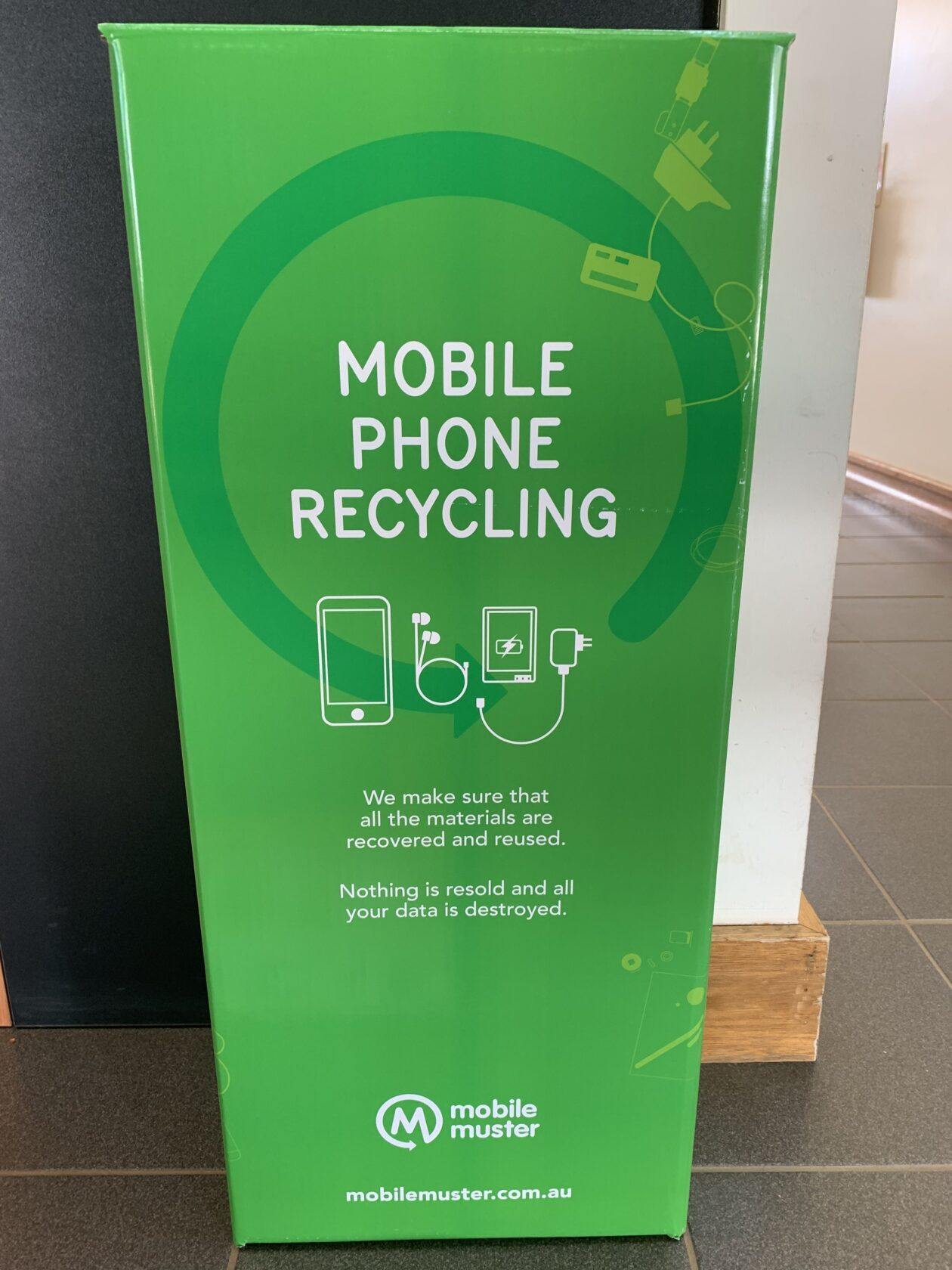 Mobile Muster Recycling Box At Council Reception Office